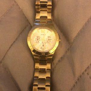 Gold tone guess watch